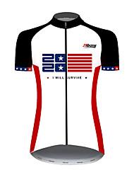 Недорогие -21Grams Жен. С короткими рукавами Велокофты Red and White Американский / США Звезды Флаги Велоспорт Джерси Верхняя часть Горные велосипеды Шоссейные велосипеды / Эластичная / Быстровысыхающий