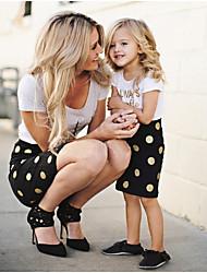 Недорогие -Мама и я Контрастных цветов Набор одежды Белый