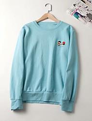 cheap -Women's Sweatshirt Print Basic White Blue Blushing Pink Beige One-Size