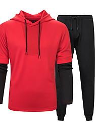 cheap -Men's Hoodie Color Block Hooded Basic Black Red US32 / UK32 / EU40 US36 / UK36 / EU44 US40 / UK40 / EU48 US44 / UK44 / EU52
