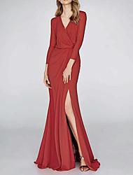 cheap -Mermaid / Trumpet V Neck Floor Length Polyester Elegant / Red Wedding Guest / Formal Evening Dress with Draping / Split 2020