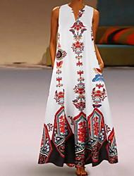 cheap -Women's Swing Dress - Geometric Black Maxi White Yellow S M L XL