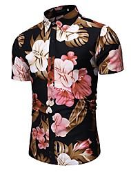 cheap -Men's Party Going out Tropical Shirt - Floral / Geometric / Color Block Black & Gray / Daisy, Print Black