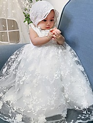 cheap -Ball Gown Floor Length Event / Party Christening Gowns - Polyester Sleeveless Jewel Neck with Lace / Sash / Ribbon / Appliques
