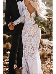 cheap -Mermaid / Trumpet Wedding Dresses Plunging Neck Court Train Polyester Long Sleeve Country Plus Size with Lace Insert Appliques 2020