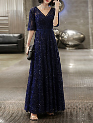cheap -A-Line V Neck Floor Length Lace Glittering / Blue Prom / Formal Evening Dress with Sequin / Appliques 2020