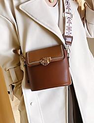 cheap -Women's Zipper PU Crossbody Bag Embroidery Red / Khaki / Brown