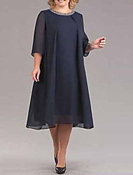 cheap -Women's Sophisticated Elegant Chiffon Dress - Solid Colored Sequins Black Red Navy Blue XXXL XXXXL XXXXXL