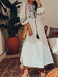 cheap -Women's Loose Dress - Floral White One-Size