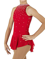 cheap -Figure Skating Dress Women's Girls' Ice Skating Dress Red Spandex High Elasticity Competition Skating Wear Patchwork Crystal / Rhinestone Sleeveless Ice Skating Figure Skating / Kids