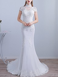 cheap -Mermaid / Trumpet High Neck Sweep / Brush Train Lace Short Sleeve Beach Wedding Dresses with Lace Insert / Embroidery / Split Front 2020