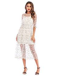 cheap -Women's White Dress Cute Daily Going out Two Piece Floral Solid Color Embroidered S M
