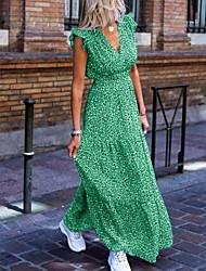 cheap -Women's Maxi Red Green Dress Boho Spring Vacation Beach A Line Print V Neck Ruffle S M