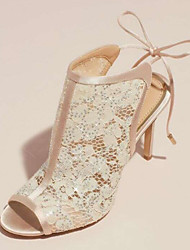 cheap -Women's Heels Stiletto Heel Peep Toe Mesh Spring & Summer Beige