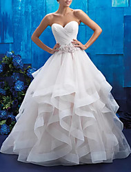 cheap -Ball Gown Wedding Dresses Strapless Sweep / Brush Train Tulle Polyester Sleeveless Country Plus Size with Beading Draping Appliques 2020
