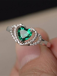 cheap -Women's Ring 1pc Silver Copper Imitation Diamond Round Stylish Gift Festival Jewelry Hollow Out Heart