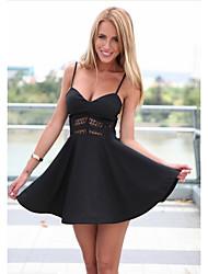 cheap -Women's Black Dress A Line Solid Color Strap Deep V S M Slim