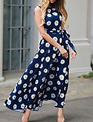cheap -Women's Beach Maxi Dress Maxi A Line Dress - Floral Spring Red Blue Navy Blue S M L XL