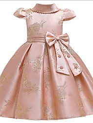 cheap -Ball Gown Ankle Length Pageant Flower Girl Dresses - Polyester Short Sleeve Jewel Neck with Bow(s) / Appliques