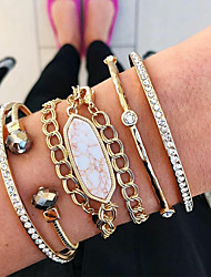 cheap -5pcs Women's Bracelet Bangles Cuff Bracelet Wrap Bracelet Layered Fashion Classic Vintage Trendy Ethnic Fashion Stone Bracelet Jewelry Gold For Gift Date Birthday Beach Festival / Imitation Diamond
