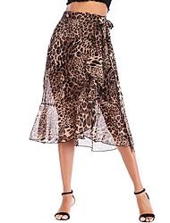 cheap -Women's A Line Skirts - Leopard Brown S M L