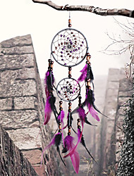 cheap -Boho Dream Catcher Handmade Gift Wall Hanging Decor Art Ornament Craft Bead Feather Circles 11*55cm for Kids Bedroom Wedding Festival