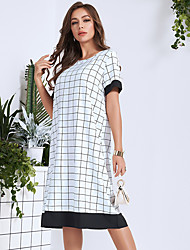 cheap -Women's Daily Going out Casual Active Shift Dress - Color Block White S M L XL