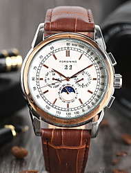 cheap -Men's Dress Watch Automatic self-winding Leather Brown Day Date Analog Elegant Fashion - Brown One Year Battery Life