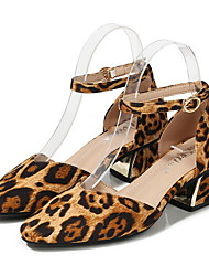 cheap -Women's Heels Print Shoes Chunky Heel Square Toe Suede Spring & Summer Leopard / Black / Daily / 3-4