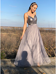 cheap -A-Line Sparkle Party Wear Prom Dress Spaghetti Strap Sleeveless Floor Length Tulle with Sequin 2021