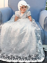 cheap -A-Line Floor Length Event / Party Christening Gowns - Polyester Short Sleeve Jewel Neck with Lace / Bow(s) / Appliques
