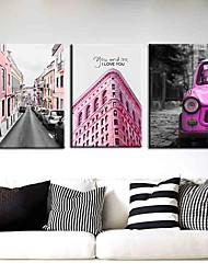 Недорогие -Печать декоративной живописи масляной живописи дома декоративные настенные росписи на холсте 40x60 см x 3 архитектура путешествия