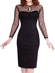 cheap -Women's Black Dress Sheath Solid Color S M Slim