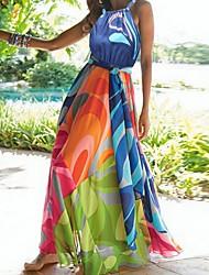 cheap -Women's Maxi Blue Dress Swing Print Halter Neck S M