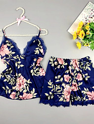 cheap -Women's Pajamas Sets Home Party Daily Floral Polyester / Cotton Satin Casual Soft Strap Top Shorts Spring Summer Deep V Sleeveless Seamed