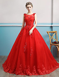 cheap -Ball Gown Wedding Dresses Bateau Neck Watteau Train Lace Tulle Polyester Sleeveless Romantic Red with Lace Crystals 2020