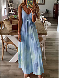 cheap -Women's Maxi A Line Dress - Sleeveless Print Summer Strap Plus Size Causal Holiday Vacation Loose White Purple Red Yellow Blushing Pink Green Navy Blue Light Blue S M L XL XXL XXXL XXXXL XXXXXL
