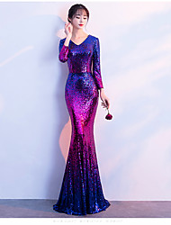 cheap -Mermaid / Trumpet V Neck Sweep / Brush Train Polyester Blue / Purple Party Wear / Formal Evening Dress with Sequin 2020