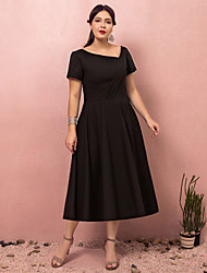 cheap -A-Line Plus Size Black Party Wear Cocktail Party Dress V Neck Short Sleeve Tea Length Polyester with Ruched 2020