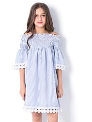 cheap -Kids Girls' Cute Street chic Blue & White Striped Ruffle Short Sleeve Knee-length Dress Blue