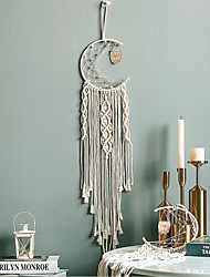 cheap -Macrame Wall Gift Hanging Bohemian Handmade Woven Art Decor Home Living Room Dorm Decoration Hand-woven Dreamcatcher owl pendant with lamp