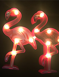 cheap -1X Cute Animal Style Battery Night Lamp 3D Flamingo Home Decor Table Lamp Bedside Lighting Kids Gift Led Light AA Battery Power (come without battery)