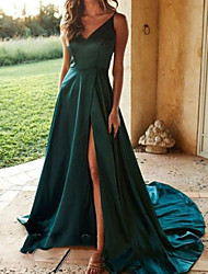 cheap -A-Line Sexy Turquoise / Teal Prom Formal Evening Dress V Neck Sleeveless Sweep / Brush Train Polyester with Split 2020