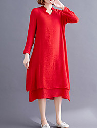 cheap -Women's Red White Dress Shift Solid Color V Neck M L Loose