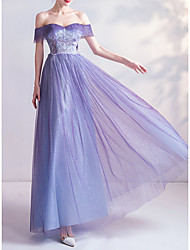cheap -A-Line Off Shoulder Floor Length Lace / Tulle Bridesmaid Dress with Appliques