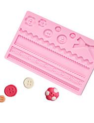 abordables -botones arco molde de chocolate fondant pastel de encaje molde de silicona herramientas para hornear en casa