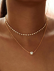 cheap -Women's Pendant Necklace Necklace Friends European Romantic Casual / Sporty Sweet Chrome Gold Silver 30 cm Necklace Jewelry 1pc For Street Festival