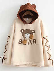 cheap -Women's Basic Hoodie - Cartoon Khaki One-Size