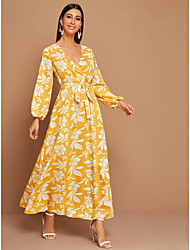cheap -Women's Maxi Yellow Dress Cute Holiday Sheath Floral Lantern Sleeve Deep V Sun Flower Print S M