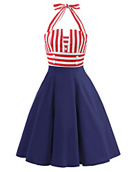 cheap -Audrey Hepburn Country Girl Retro Vintage 1950s Wasp-Waisted Rockabilly Summer Dress JSK / Jumper Skirt Women's Cotton Costume Red Vintage Cosplay Party Daily Sleeveless Knee Length